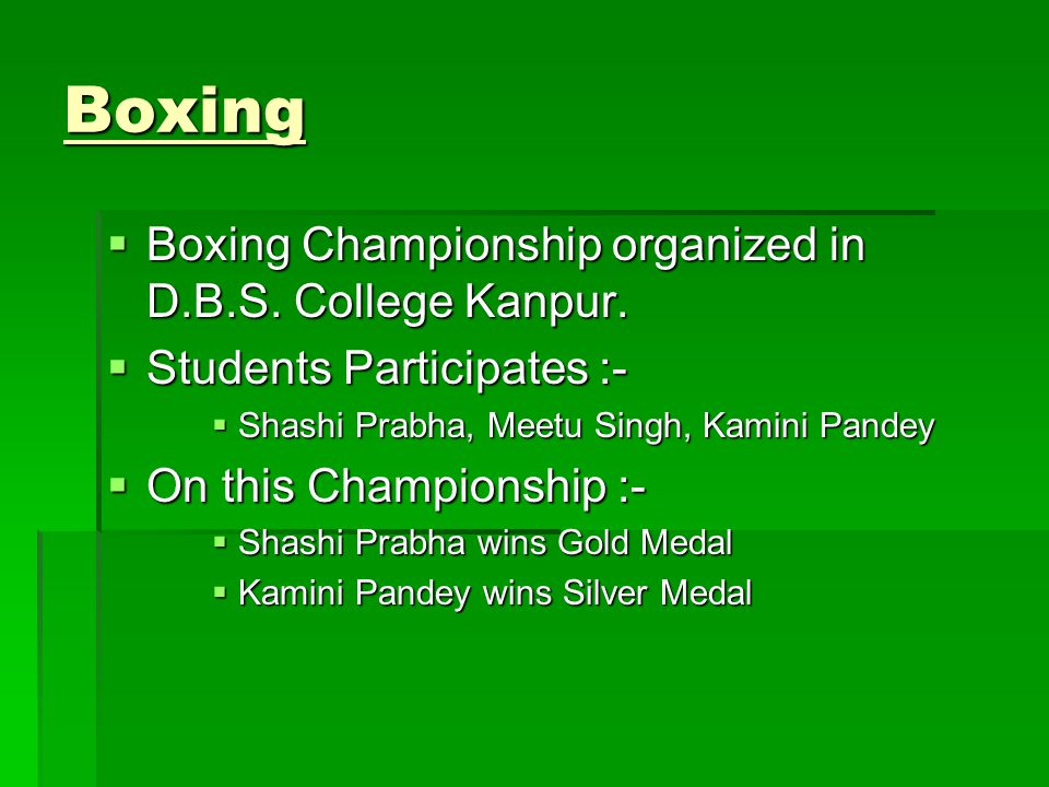 Boxing Boxing Championship organized in D.B.S. College Kanpur.