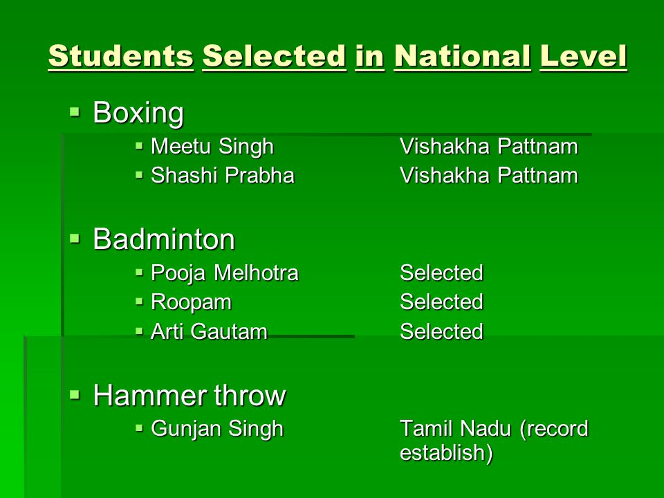 Boxing Boxing Meetu SinghVishakha Pattnam Meetu SinghVishakha Pattnam Shashi PrabhaVishakha Pattnam Shashi PrabhaVishakha Pattnam Badminton Badminton Pooja MelhotraSelected Pooja MelhotraSelected RoopamSelected RoopamSelected Arti GautamSelected Arti GautamSelected Hammer throw Hammer throw Gunjan SinghTamil Nadu (record establish) Gunjan SinghTamil Nadu (record establish) Students Selected in National Level