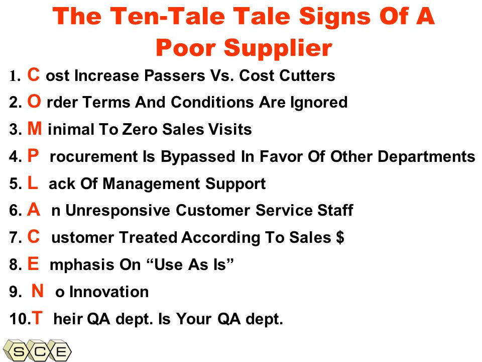Copyright © 2011, Supply Chain Education, Inc. The Ten-Tale Tale Signs Of A Poor Supplier 1.