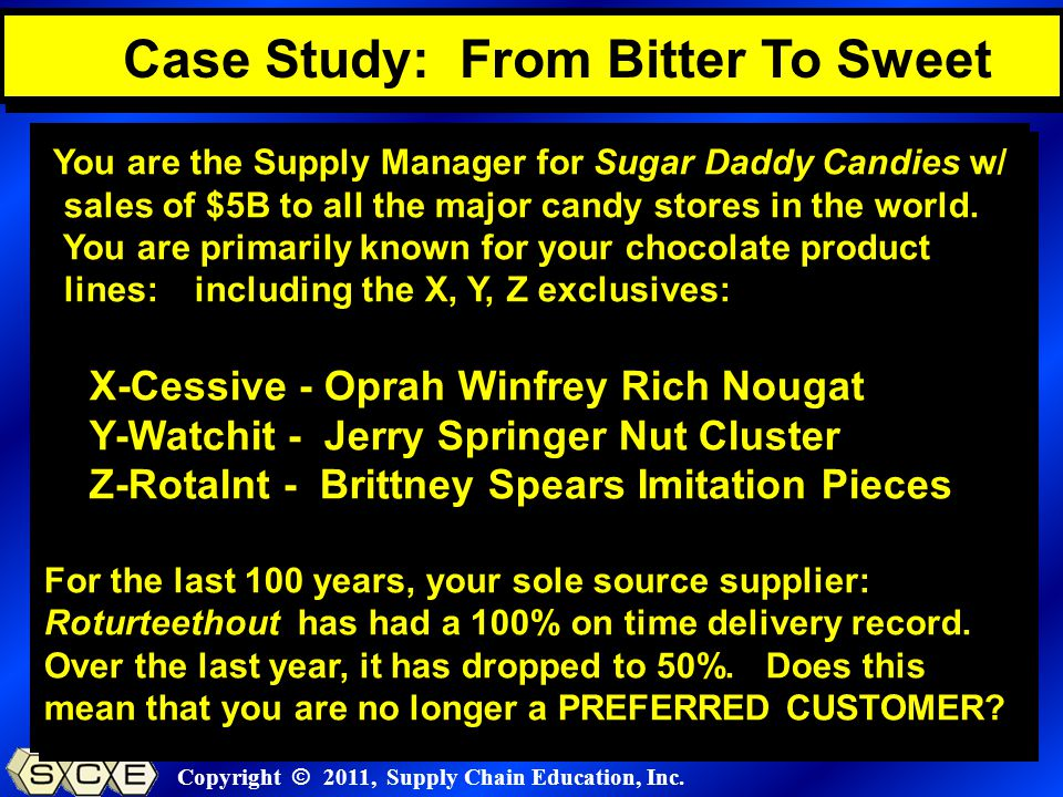 Copyright © 2011, Supply Chain Education, Inc. You are the Supply Manager for Sugar Daddy Candies w/ sales of $5B to all the major candy stores in the