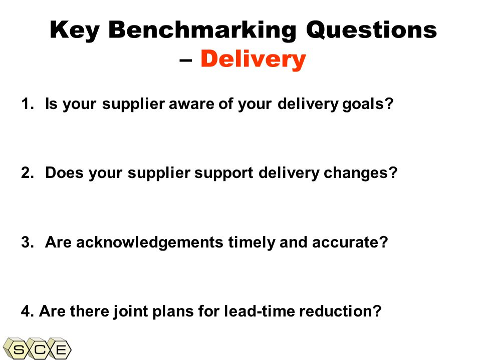 Copyright © 2011, Supply Chain Education, Inc. Key Benchmarking Questions – Delivery 1.Is your supplier aware of your delivery goals? 2.Does your supp