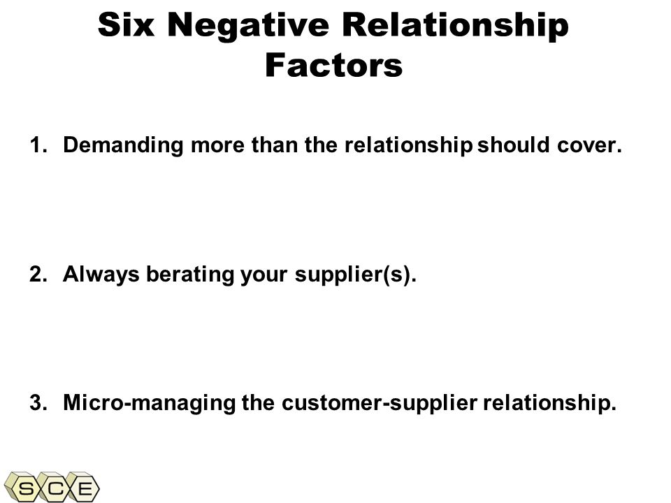 Copyright © 2011, Supply Chain Education, Inc. Six Negative Relationship Factors 1.Demanding more than the relationship should cover. 2.Always beratin