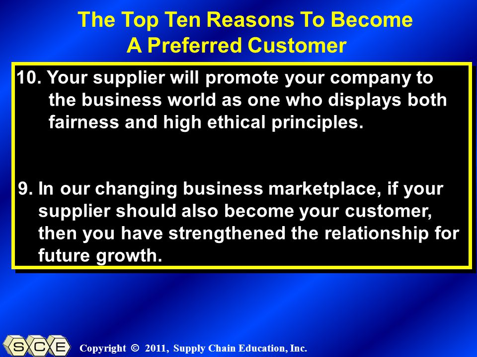 Copyright © 2011, Supply Chain Education, Inc. 10.