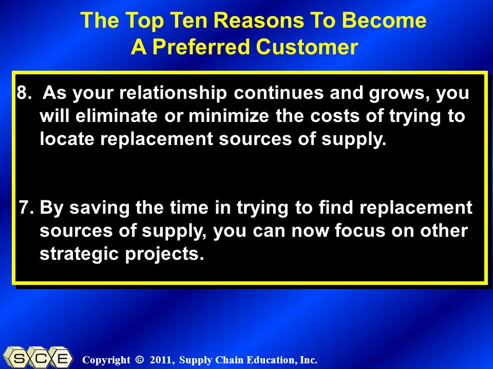 Copyright © 2011, Supply Chain Education, Inc. 8.