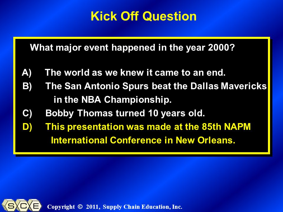 Copyright © 2011, Supply Chain Education, Inc. What major event happened in the year 2000? A) The world as we knew it came to an end. B) The San Anton