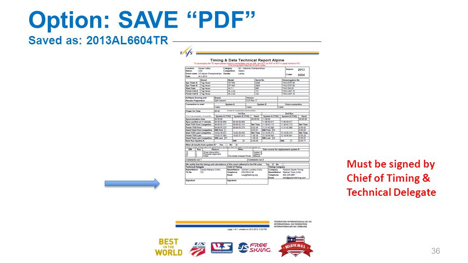 Option: SAVE PDF Saved as: 2013AL6604TR 36 Must be signed by Chief of Timing & Technical Delegate