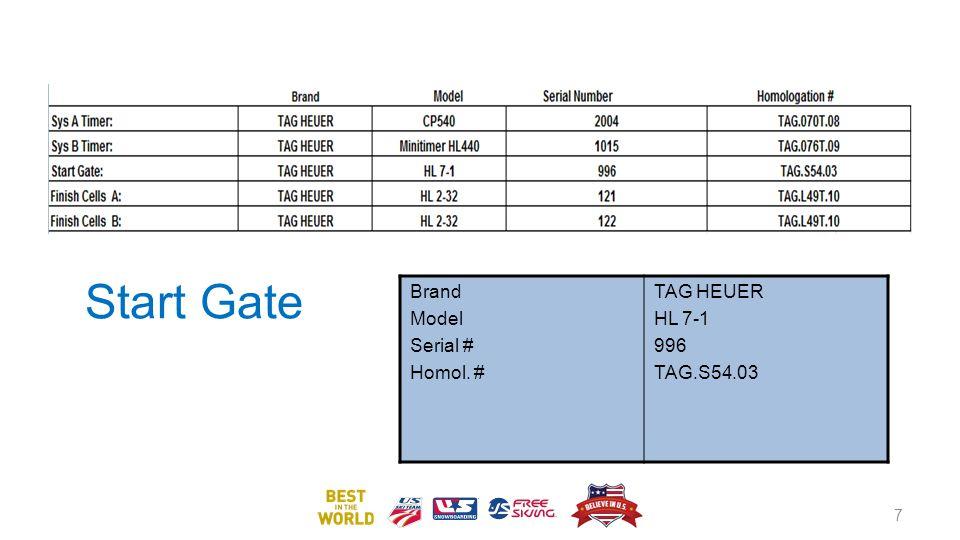 Start Gate Brand Model Serial # Homol. # TAG HEUER HL 7-1 996 TAG.S54.03 7