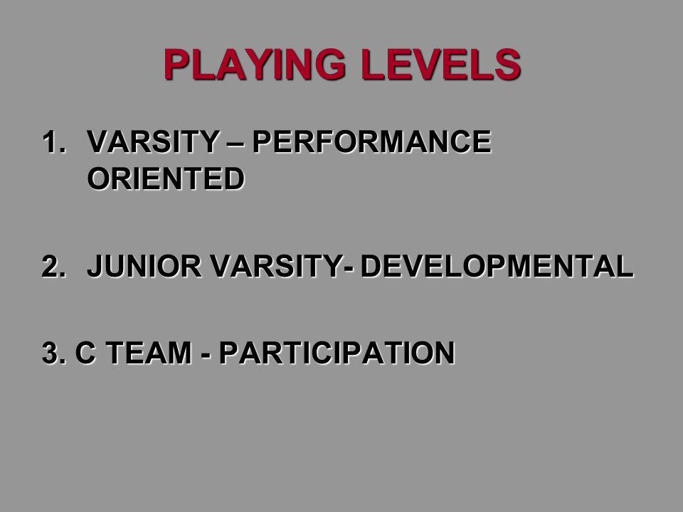PLAYING LEVELS 1.VARSITY – PERFORMANCE ORIENTED 2.JUNIOR VARSITY- DEVELOPMENTAL 3. C TEAM - PARTICIPATION