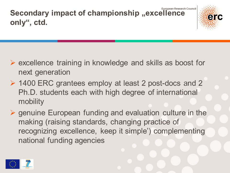 European Research Council Secondary impact of championship excellence only, ctd.