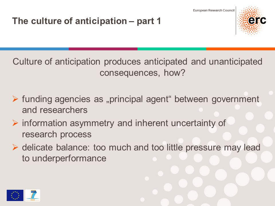 European Research Council The culture of anticipation – part 1 Culture of anticipation produces anticipated and unanticipated consequences, how.
