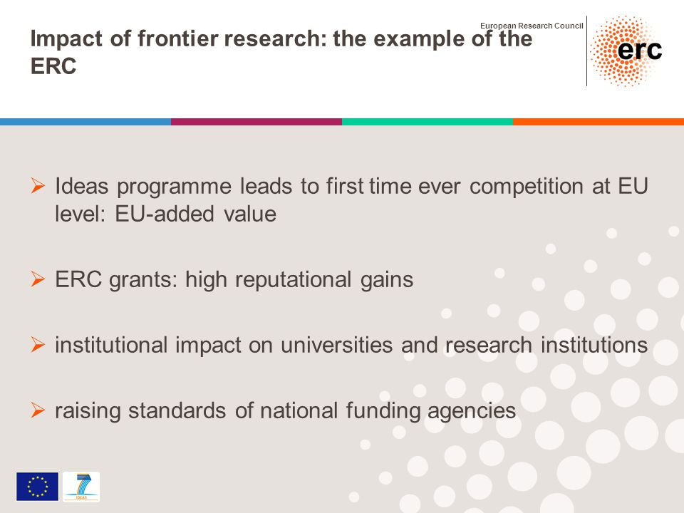 European Research Council Impact of frontier research: the example of the ERC Ideas programme leads to first time ever competition at EU level: EU-added value ERC grants: high reputational gains institutional impact on universities and research institutions raising standards of national funding agencies