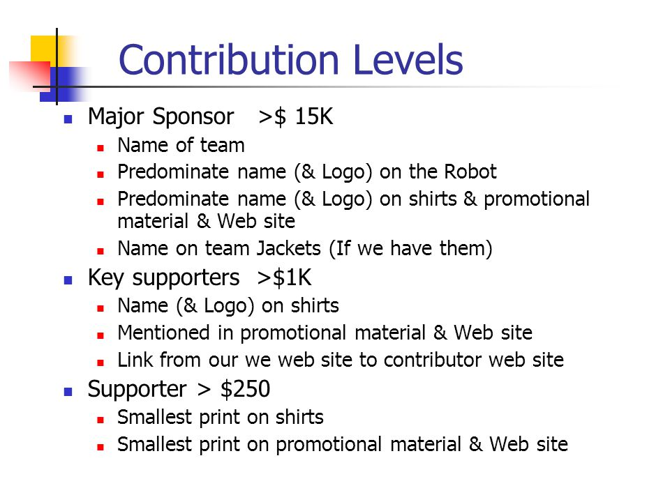 Contribution Levels Major Sponsor >$ 15K Name of team Predominate name (& Logo) on the Robot Predominate name (& Logo) on shirts & promotional material & Web site Name on team Jackets (If we have them) Key supporters >$1K Name (& Logo) on shirts Mentioned in promotional material & Web site Link from our we web site to contributor web site Supporter > $250 Smallest print on shirts Smallest print on promotional material & Web site