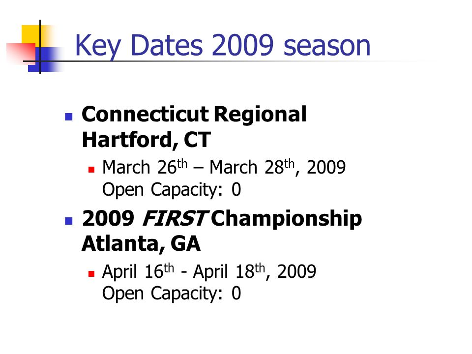 Key Dates 2009 season Connecticut Regional Hartford, CT March 26 th – March 28 th, 2009 Open Capacity: 0 2009 FIRST Championship Atlanta, GA April 16 th - April 18 th, 2009 Open Capacity: 0