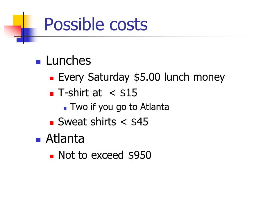 Possible costs Lunches Every Saturday $5.00 lunch money T-shirt at < $15 Two if you go to Atlanta Sweat shirts < $45 Atlanta Not to exceed $950