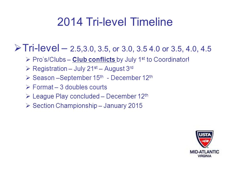 2014 Tri-level Timeline Tri-level – 2.5,3.0, 3.5, or 3.0, 3.5 4.0 or 3.5, 4.0, 4.5 Pros/Clubs – Club conflicts by July 1 st to Coordinator.