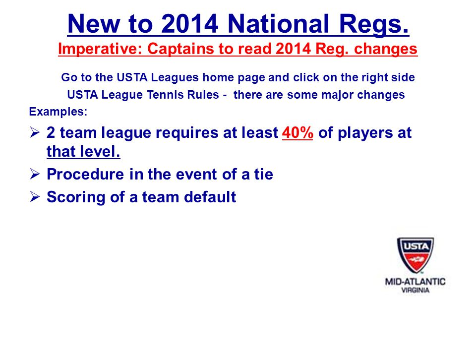 New to 2014 National Regs.Imperative: Captains to read 2014 Reg.
