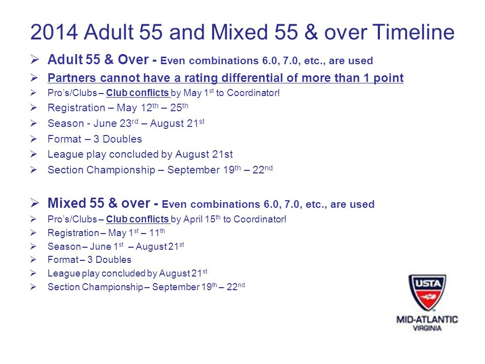 2014 Adult 55 and Mixed 55 & over Timeline Adult 55 & Over - Even combinations 6.0, 7.0, etc., are used Partners cannot have a rating differential of more than 1 point Pros/Clubs – Club conflicts by May 1 st to Coordinator.