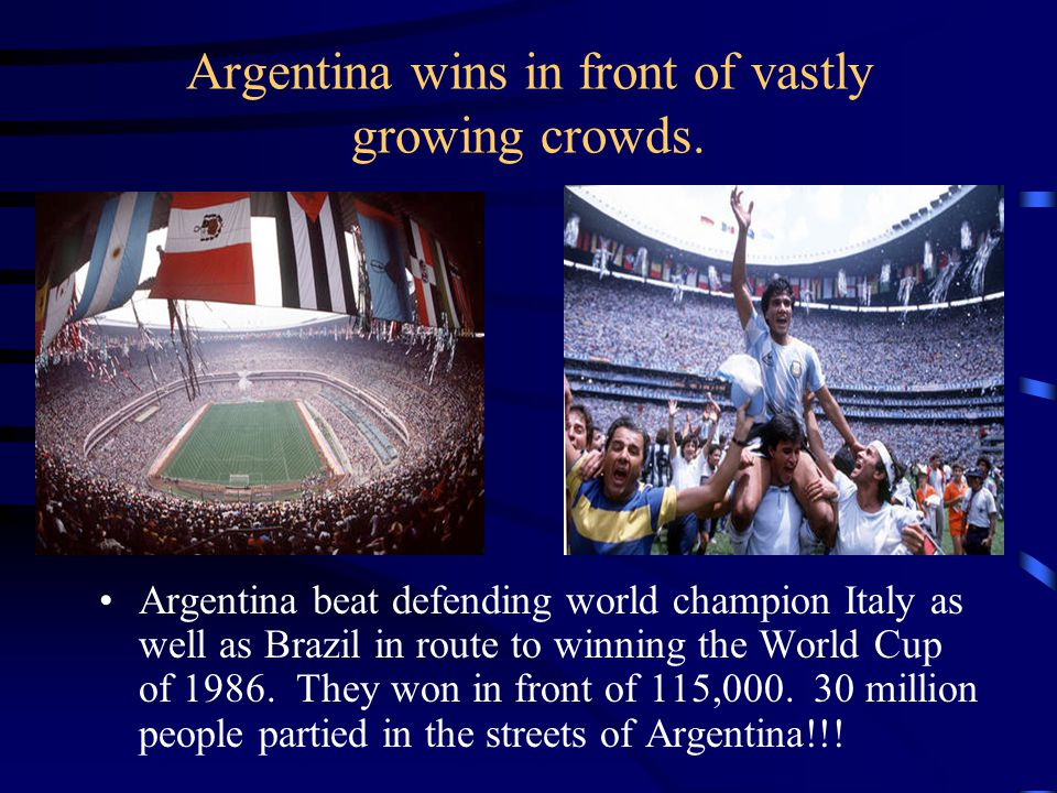 Argentina wins in front of vastly growing crowds.