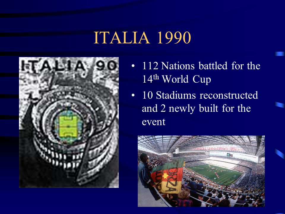 ITALIA Nations battled for the 14 th World Cup 10 Stadiums reconstructed and 2 newly built for the event
