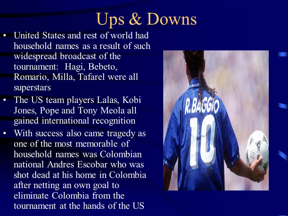 Ups & Downs United States and rest of world had household names as a result of such widespread broadcast of the tournament: Hagi, Bebeto, Romario, Milla, Tafarel were all superstars The US team players Lalas, Kobi Jones, Pope and Tony Meola all gained international recognition With success also came tragedy as one of the most memorable of household names was Colombian national Andres Escobar who was shot dead at his home in Colombia after netting an own goal to eliminate Colombia from the tournament at the hands of the US