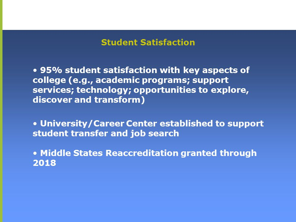 95% student satisfaction with key aspects of college (e.g., academic programs; support services; technology; opportunities to explore, discover and tr