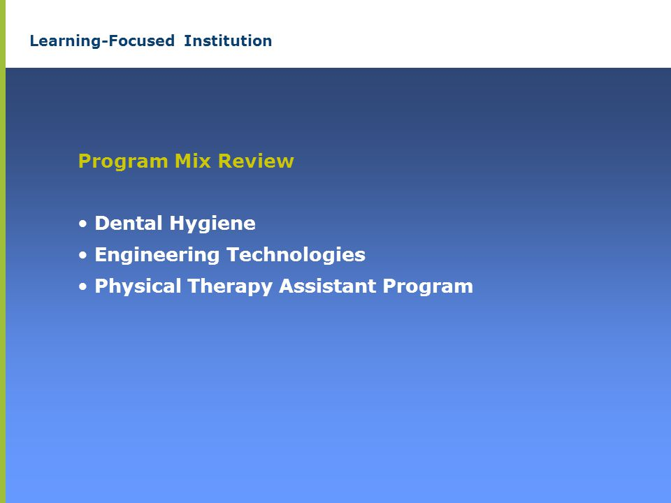 Learning-Focused Institution Program Mix Review Dental Hygiene Engineering Technologies Physical Therapy Assistant Program