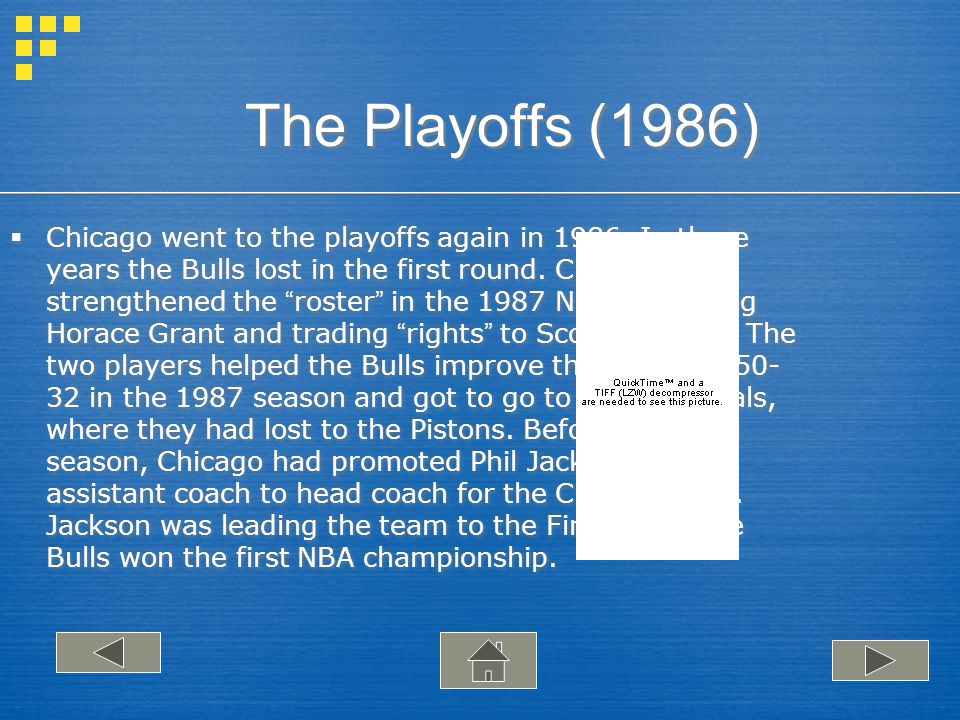 The Playoffs (1986) Chicago went to the playoffs again in 1986.