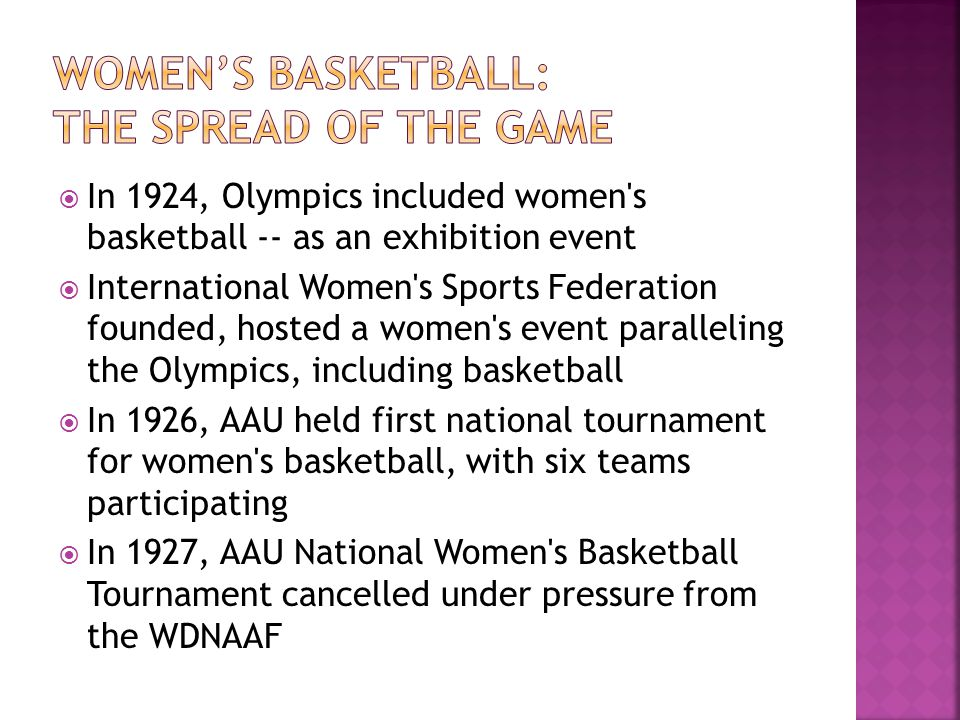 In 1924, Olympics included women's basketball -- as an exhibition event International Women's Sports Federation founded, hosted a women's event parall