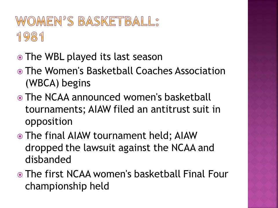 The WBL played its last season The Women's Basketball Coaches Association (WBCA) begins The NCAA announced women's basketball tournaments; AIAW filed