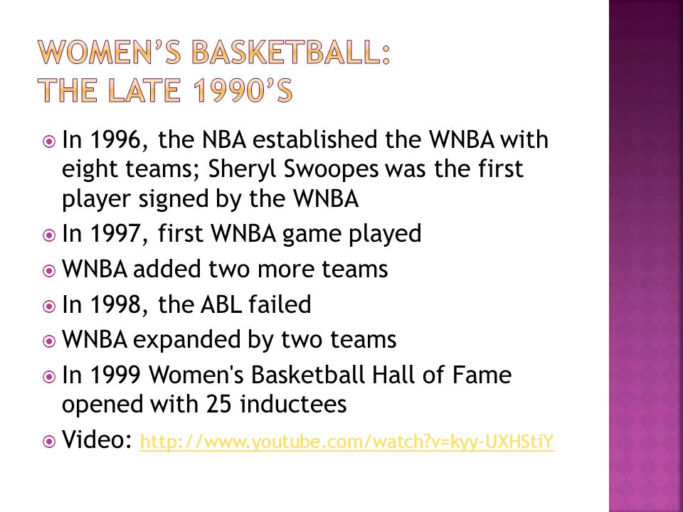 In 1996, the NBA established the WNBA with eight teams; Sheryl Swoopes was the first player signed by the WNBA In 1997, first WNBA game played WNBA ad
