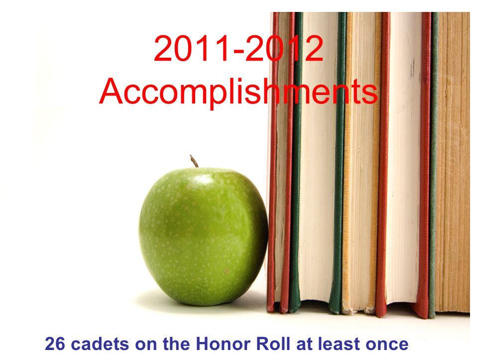 2011-2012 Accomplishments 26 cadets on the Honor Roll at least once