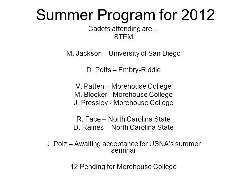 Summer Program for 2012 Cadets attending are… STEM M.