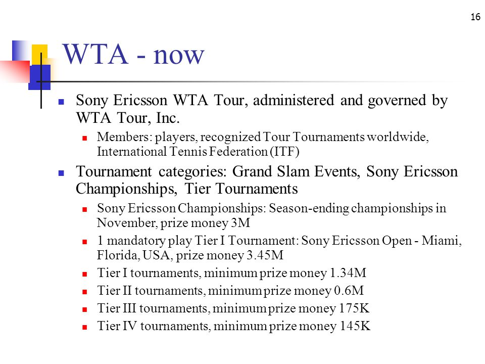 16 WTA - now Sony Ericsson WTA Tour, administered and governed by WTA Tour, Inc.