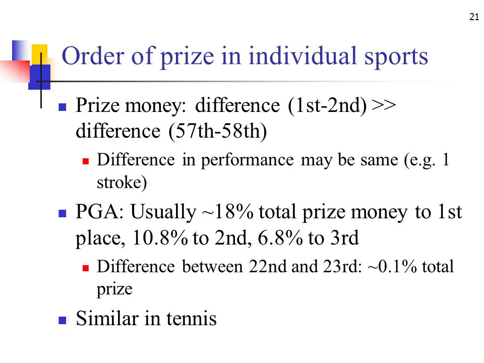 21 Order of prize in individual sports Prize money: difference (1st-2nd) >> difference (57th-58th) Difference in performance may be same (e.g.