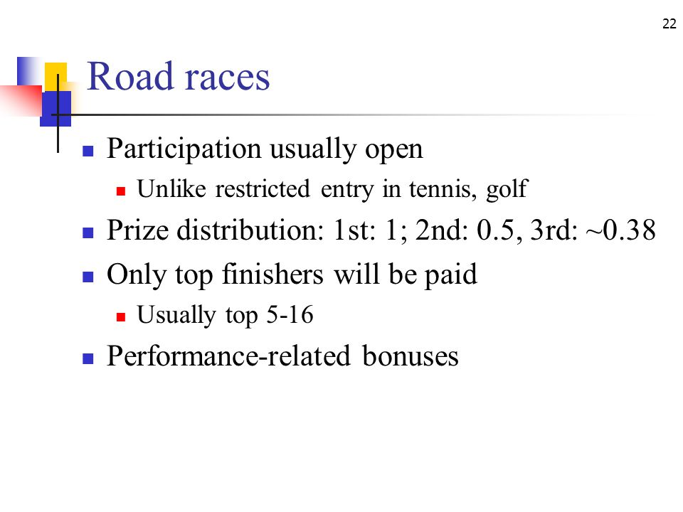 22 Road races Participation usually open Unlike restricted entry in tennis, golf Prize distribution: 1st: 1; 2nd: 0.5, 3rd: ~0.38 Only top finishers will be paid Usually top 5-16 Performance-related bonuses