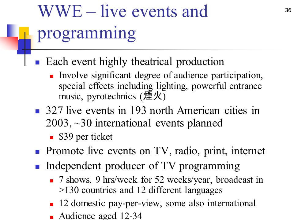 36 WWE – live events and programming Each event highly theatrical production Involve significant degree of audience participation, special effects including lighting, powerful entrance music, pyrotechnics ( ) 327 live events in 193 north American cities in 2003, ~30 international events planned $39 per ticket Promote live events on TV, radio, print, internet Independent producer of TV programming 7 shows, 9 hrs/week for 52 weeks/year, broadcast in >130 countries and 12 different languages 12 domestic pay-per-view, some also international Audience aged 12-34