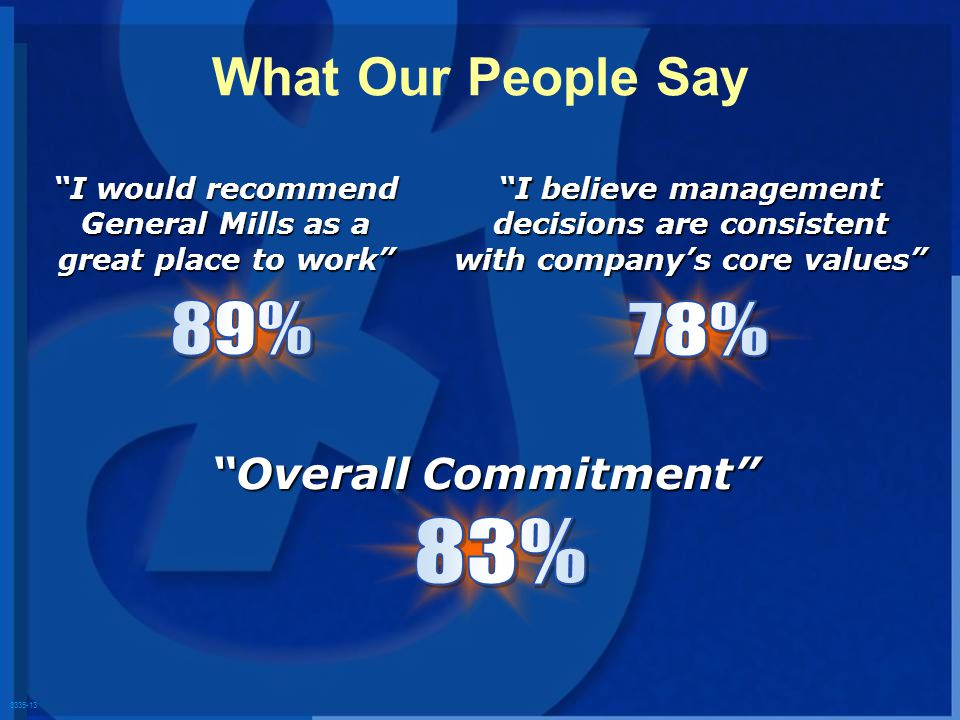 3335-13 What Our People Say I would recommend General Mills as a great place to work Overall Commitment I believe management decisions are consistent with companys core values
