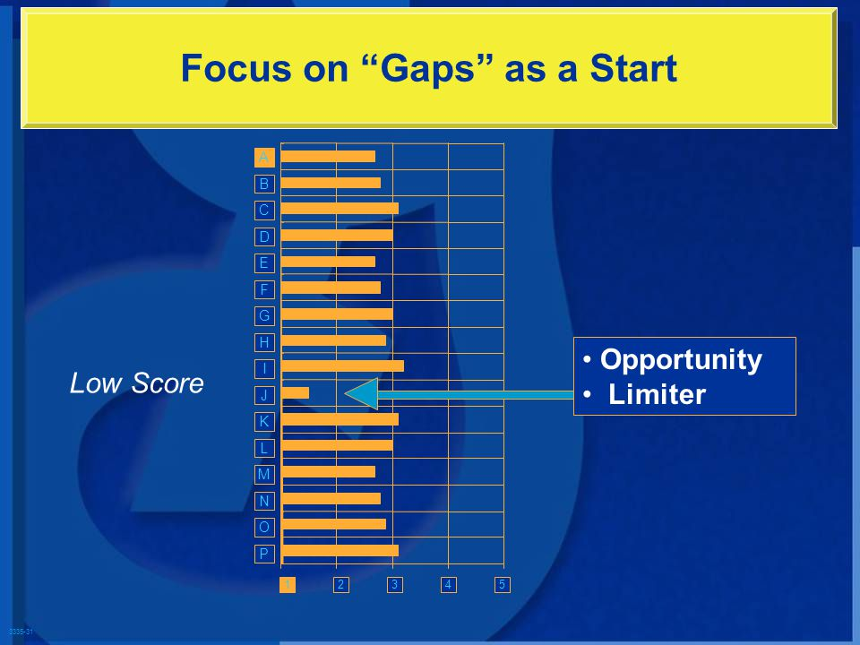 3335-31 Focus on Gaps as a Start Low Score 1 A Opportunity Limiter G H I J K L M N O P D E F B C 3452