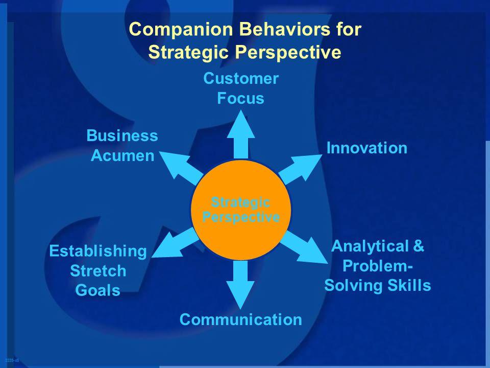 3335-46 Strategic Perspective Customer Focus Innovation Analytical & Problem- Solving Skills Communication Business Acumen Establishing Stretch Goals Companion Behaviors for Strategic Perspective