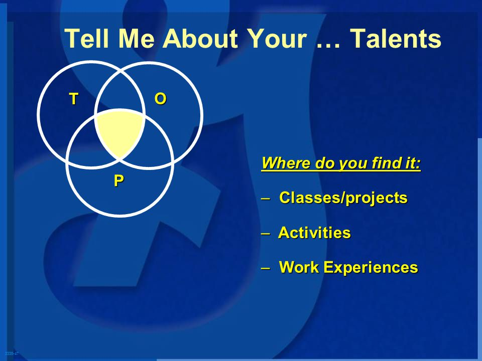 3335-47 T O P Where do you find it: – Classes/projects – Activities – Work Experiences Tell Me About Your … Talents