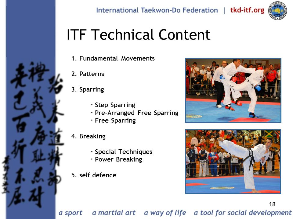 18 ITF Technical Content 1. Fundamental Movements 2. Patterns 3. Sparring · Step Sparring · Pre-Arranged Free Sparring · Free Sparring 4. Breaking · S