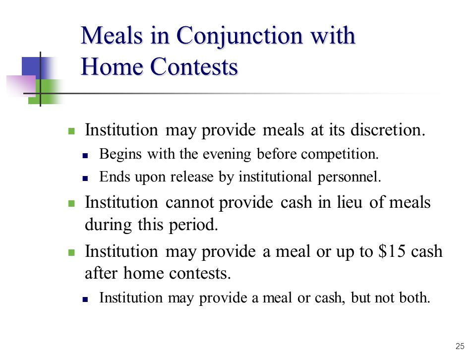 Meals in Conjunction with Home Contests Institution may provide meals at its discretion.