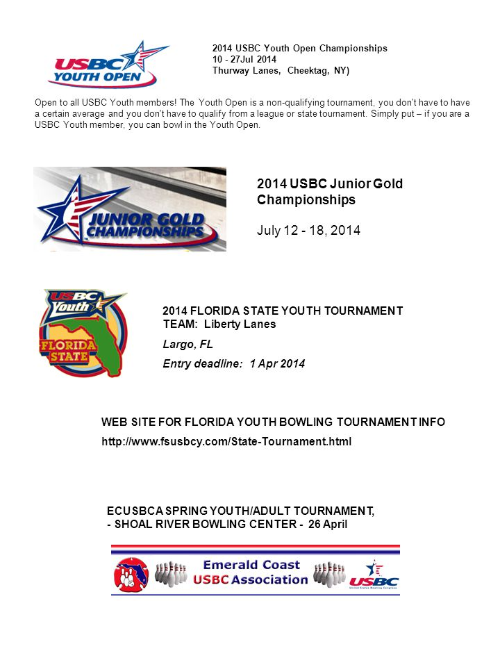 2014 USBC Youth Open Championships 10 - 27Jul 2014 Thurway Lanes, Cheektag, NY) Open to all USBC Youth members.