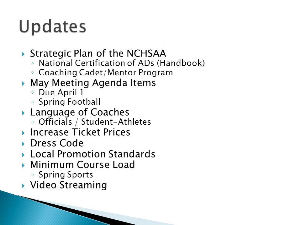 Strategic Plan of the NCHSAA National Certification of ADs (Handbook) Coaching Cadet/Mentor Program May Meeting Agenda Items Due April 1 Spring Footba