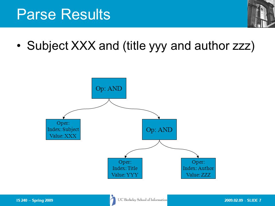2009.02.09 - SLIDE 7IS 240 – Spring 2009 Parse Results Subject XXX and (title yyy and author zzz) Op: AND Oper: Index: Subject Value: XXX Oper: Index: Title Value: YYY Oper: Index: Author Value: ZZZ