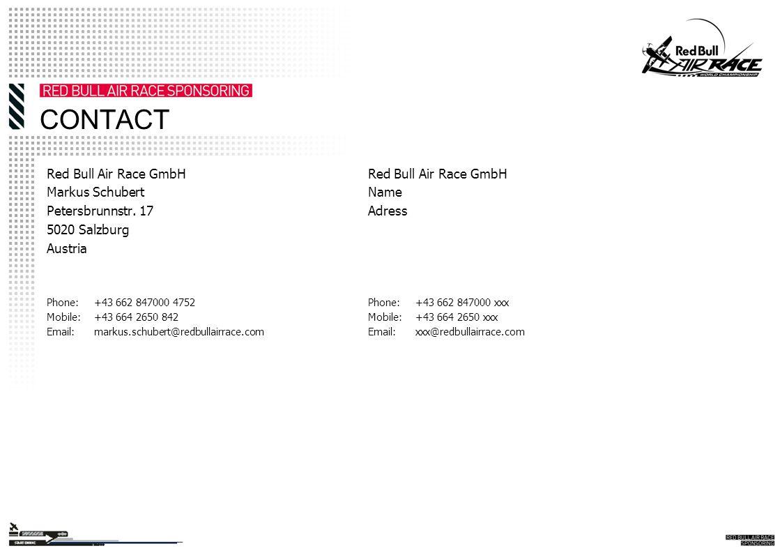 CONTACT Red Bull Air Race GmbH Markus Schubert Petersbrunnstr.