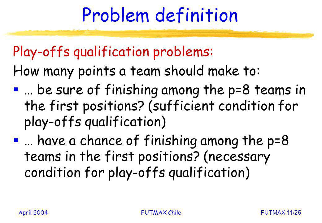 April 2004FUTMAX ChileFUTMAX 11/25 Problem definition Play-offs qualification problems: How many points a team should make to: … be sure of finishing
