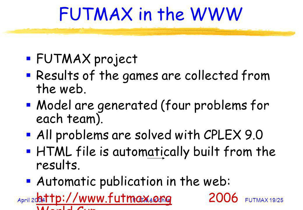 April 2004FUTMAX ChileFUTMAX 19/25 FUTMAX in the WWW FUTMAX project Results of the games are collected from the web. Model are generated (four problem