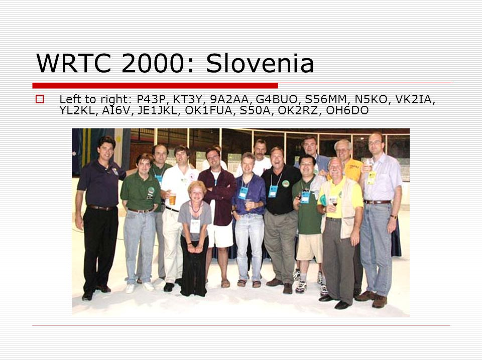 WRTC 2000: Slovenia Left to right: P43P, KT3Y, 9A2AA, G4BUO, S56MM, N5KO, VK2IA, YL2KL, AI6V, JE1JKL, OK1FUA, S50A, OK2RZ, OH6DO