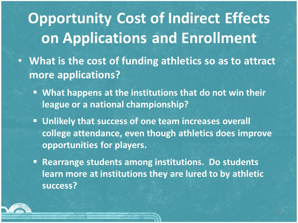 Opportunity Cost of Indirect Effects on Applications and Enrollment What is the cost of funding athletics so as to attract more applications.